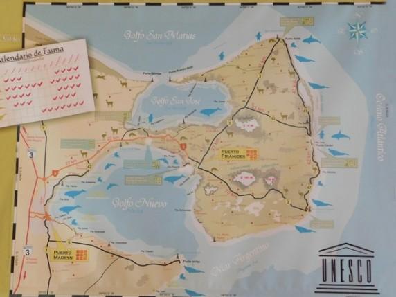 Carte de la Péninsule de Valdès