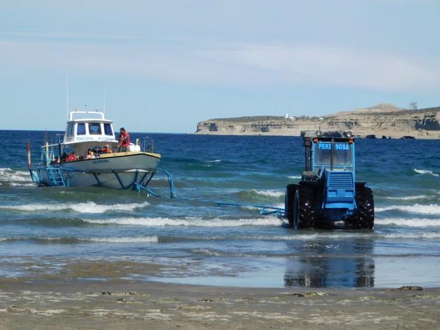 Péninsule de Valdès, départ des bateaux d'excursion à Puerto Pyramides