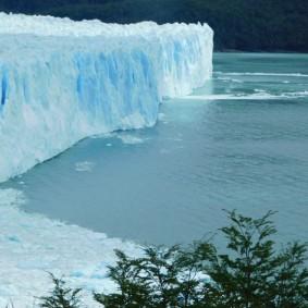 Perito Moreno, la partie droite du lac qui a un niveau d'eau plus haut