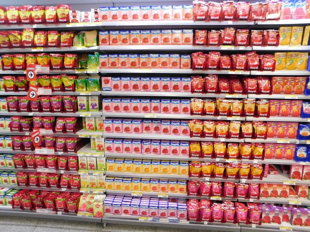 Palermo, supermarché, linéaire de jelly