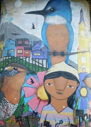 Castro, la gare routière, mur peint