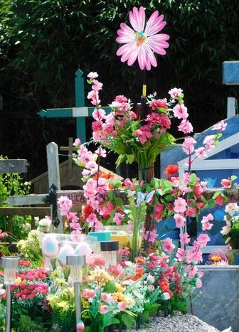 Sur la carretera austral, cimetière très fleuri après la Toussaint