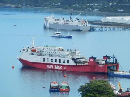 Vue depuis notre cabana sur le ferry que l'on n'a pas pu prendre à Puerto Natales !