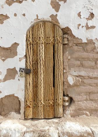 Toconao, porte du clocher réalisée en cactus