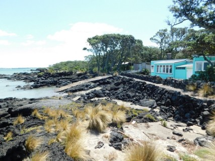 Ile de Rangitoto - De MacKenzie Bay au quai des ferries, cabanon