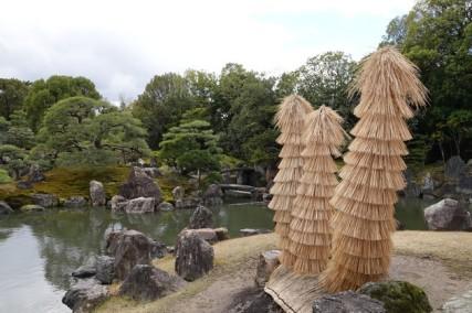 Kyoto - Château Nojo-jo - Jardins - AU premier plan, protection pour les arbres