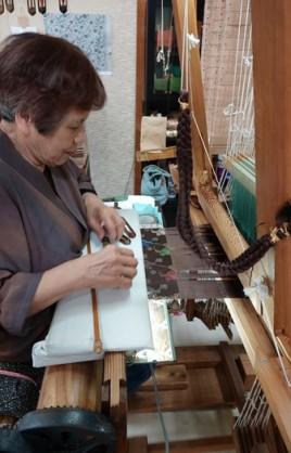 Kyoto - Centre textile Nishijin - Démonstration de tissage sur machine Jacquard