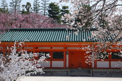 """Kyoto - Temple Heian - A gauche, arbre en papier dont les """"feuilles"""" sont en réalité des voeux accrochés par les croyants"""