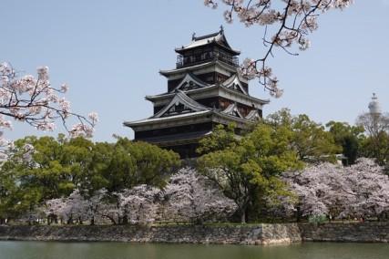 Hiroshima - Coup d'oeil extérieur au château, lui aussi entouré de sakura !