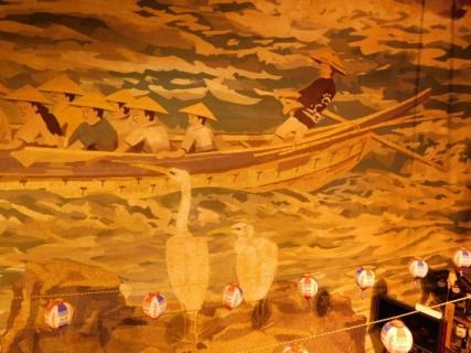 Inuyama - Allée couverte - Mur peint, zoom sur la pêche au cormoran