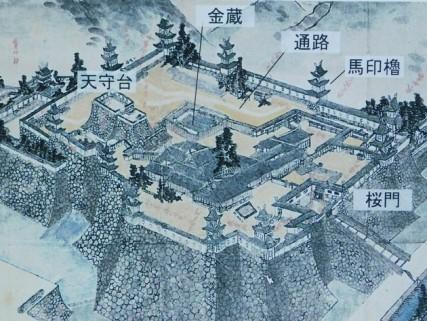 Château d'Osaka - Gravure qui montre le château à l'origine