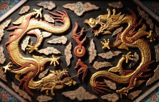 Séoul - Musée national du Palais impérial Gyeongbokgung - Reproduction du plafond de la salle du trône