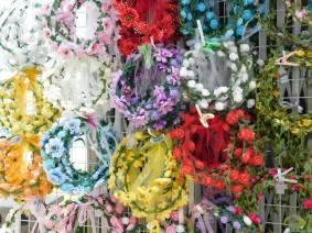 Busan - Gamcheon Culture Village - Surprenantes couronnes de fleurs...