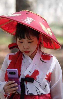 Gyeongju - Parc des tumuli Dareung-won - Et hop ! Un selfie...