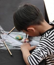 """Séoul - Namsangol Hanok village - Atelier """"peinture"""" pour enfants"""