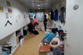 Ferry Busan / Shimonoseki - Salle de futon occupée par les business seniors !