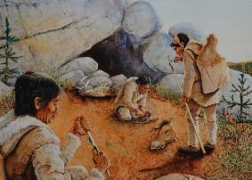 Musée amérindien de Mashteuiatsh - Exposition d'aquarelles de François Girard, d'après les recherches ethnographiques de Marc Laberge - Grotte de Blue Fish, retour de chasse (-20 000 ans)