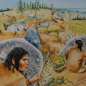 Musée amérindien de Mashteuiatsh - Exposition d'aquarelles de François Girard, d'après les recherches ethnographiques de Marc Laberge - Chasse au Caribou (-8000 avant aujourd'hui)