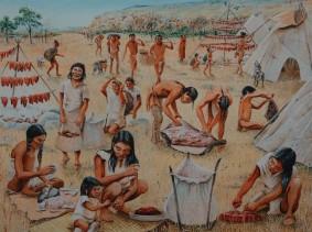 Musée amérindien de Mashteuiatsh - Exposition d'aquarelles de François Girard, d'après les recherches ethnographiques de Marc Laberge - Récolte du bison (entre 5000 et 10000 avant aujourd'hui)