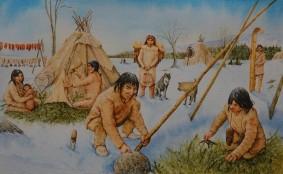 Musée amérindien de Mashteuiatsh - Exposition d'aquarelles de François Girard, d'après les recherches ethnographiques de Marc Laberge - Construction d'une tente en hiver