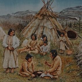 Musée amérindien de Mashteuiatsh - Exposition d'aquarelles de François Girard, d'après les recherches ethnographiques de Marc Laberge - Campement boréal