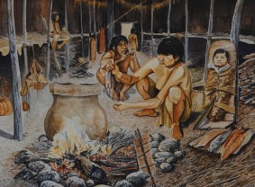 Musée amérindien de Mashteuiatsh - Exposition d'aquarelles de François Girard, d'après les recherches ethnographiques de Marc Laberge - Intérieur d'une maison-longue iroquoienne