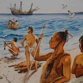 Musée amérindien de Mashteuiatsh - Exposition d'aquarelles de François Girard, d'après les recherches ethnographiques de Marc Laberge - Arrivée des Européens (XVe - XVIIe)