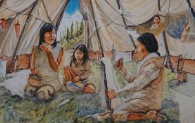 Musée amérindien de Mashteuiatsh - Exposition d'aquarelles de François Girard, d'après les recherches ethnographiques de Marc Laberge - Intérieur d'une tente