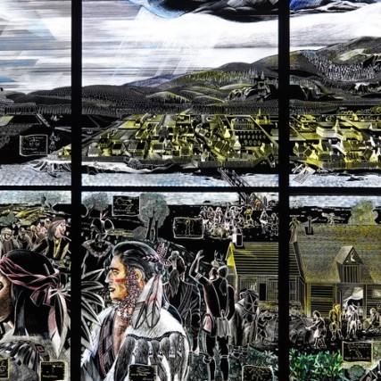 Montréal - Vieille ville - Musée d'Archéologie et d'Histoire de Pointe-à-Callière - Fresque décrivant la Paix de 1701