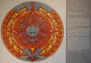 Mexico - Museo Nacional de Antropologia - Pierre du Soleil, calendrier aztèque (explications)