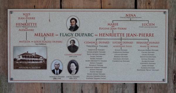 Plantation Laura - Géanologie d'un des fils de la famille Duparc qui a eu des enfants - non reconnus - avec une esclave