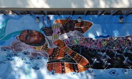 Bacalar - Mur peint original, devant le resto