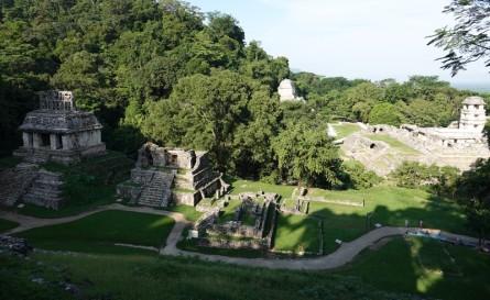 Site archéologique des ruines de Palenque - Vue sur le site depuis le haut du Templo de la Cruz
