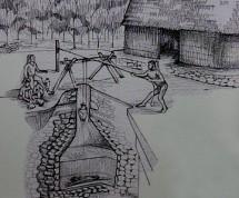 Uxmal - Centre d'interprétation - Schéma explicatif des puits mayas