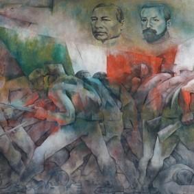 Merida - Plaza Grande - Palacio de Gobierno - Fresque de Fernando Castro Pacheco - Triomphe de la République sur la Monarchie