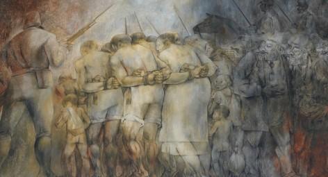 Merida - Plaza Grande - Palacio de Gobierno - Fresque de Fernando Castro Pacheco - Vente d'indiens au XIXe siècle