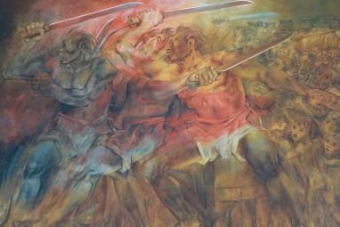 Merida - Plaza Grande - Palacio de Gobierno - Fresque de Fernando Castro Pacheco - La guerre des Castes