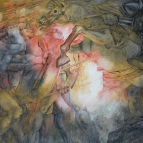 Merida - Plaza Grande - Palacio de Gobierno - Fresque de Fernando Castro Pacheco - La conquête espagnole et la guerre contre les mayas