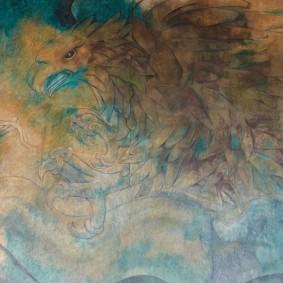 Merida - Plaza Grande - Palacio de Gobierno - Fresque de Fernando Castro Pacheco - L'aigle et le serpent, symboles du bien et du mal