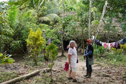 Barra Lampara - Village maya Gran Plan Tatin - Avec Arturo, devant chez sa maison