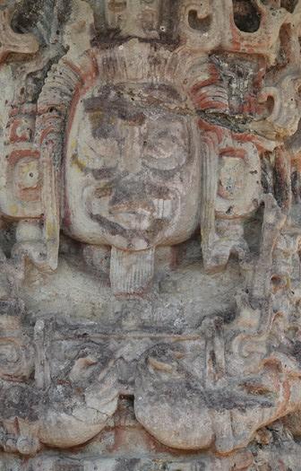 Site archéologique des Ruines de Copan - Stèle sur laquelle on aperçoit encore des traces de peinture