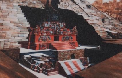 Site archéologique des Ruines de Copan - Musée des Sculptures - Schéma du temple Rosalila à l'intérieur de la structure 16