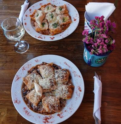 San Cristobal de Las Casas - Real de Guadalupe - Bon déjeuner : ravioles à la tomate et aux champignons !