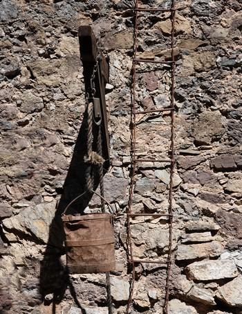 Valenciana - Bocamina de San Ramon - Echelle de montée et de descente des mineurs et système pour évacuer le minerai