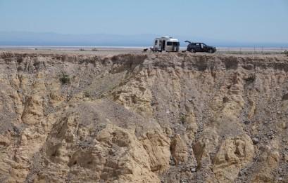 Route 78, désert d'Anza-Borrego - Un peu trop à flanc de falaise pour moi, ce bivouac sauvage !