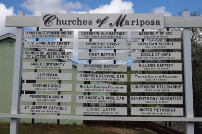 Mariposa - 24 églises pour 1800 habitants !...