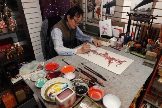 San Francisco - Chinatown - Peinture sur papier de riz