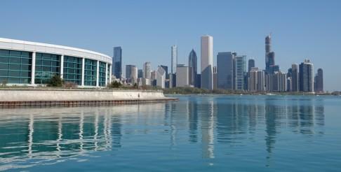 Chicago - Au bord du lac Michigan - Zoom sur la Skyline depuis le Planétarium