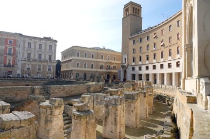 Lecce - Piazza Sant'Oronzo - Vue sur les ruines de l'amphithéâtre romain