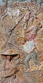 Savoca - En contrebas du village, grandes fresques en céramique